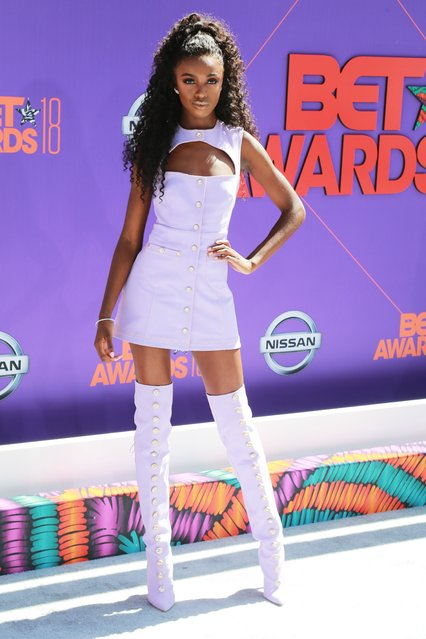 Leomie Anderson arrives at the BET Awards at the Microsoft Theater on Sunday, June 24, 2018, in Los Angeles. (Photo by Leon Bennett/Getty Images)