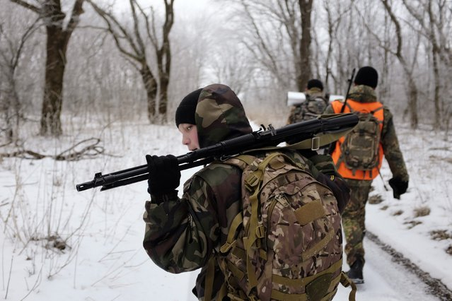 Students from the General Yermolov Cadet School march during a field exercise outside the south Russian city of Stavropol January 25, 2015. (Photo by Eduard Korniyenko/Reuters)