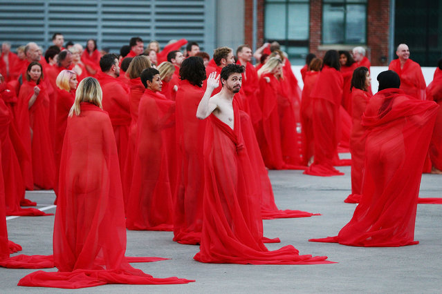 Participants pose as part of Spencer Tunick's nude art installation Return of the Nude on July 9, 2018 in Melbourne, Australia. Tunick nude installation is part of Chapel Street's PROVOCARE Festival of the Arts 2018 (Photo by Michael Dodge/Getty Images)