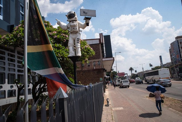 An astronaut statue can be seen outside the National Research Foundation building in Pretoria CBD, 16 March 2021. (Photo by Jacques Nelles)