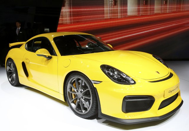 The new Porsche Cayman GT4 is seen during the second press day ahead of the 85th International Motor Show in Geneva March 4, 2015.  REUTERS/Arnd Wiegmann