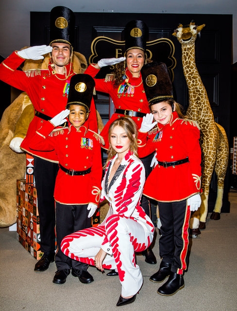 Gigi Hadid has designed the soldiers uniforms for the newly relaunching FAO Schwartz toy shop in New York City on October 24, 2018. The iconic toy store (featured in the movie Big with Tom Hanks) enlisted the help of the supermodel for their new store, which will open in Manhattan's 30 Rock building this November. Speaking on The Tonight Show Starring Jimmy Fallon on Tuesday night. (Photo by Rony Alwin/SplashSplash News and Pictures)
