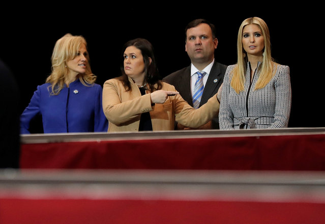 White House counselor Kellyanne Conway (L-R), Press Secretary Sarah Huckabee Sanders, Director of Social Media Dan Scavino and Senior Advisor Ivanka Trump stand together watching as President Donald Trump holds a campaign rally in Cleveland, Ohio, November 5, 2018. (Photo by Carlos Barria/Reuters)