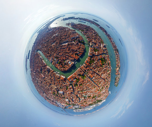The winding canals of Venice, Italy. (Photo by Airpano/Caters News)
