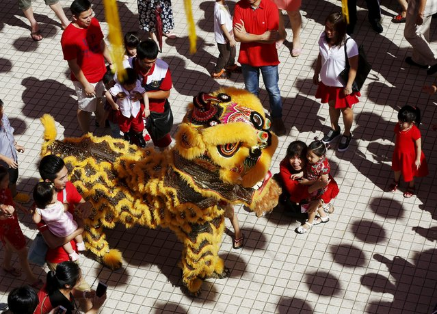 A mother and child watch a lion dance during Chinese New Year celebrations at a temple in Kuala Lumpur, Malaysia, February 8, 2016. (Photo by Olivia Harris/Reuters)