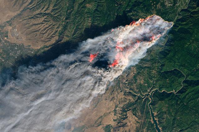The Camp Fire burning near Paradise, California as seen from NASA's Operational Land Imager satellite, November 8, 2018. (Photo by NASA via Reuters)