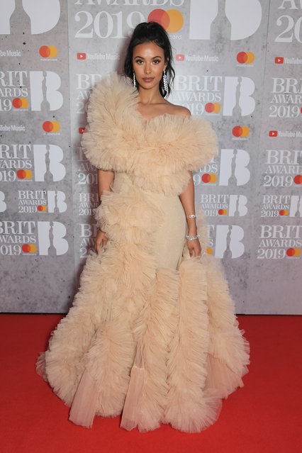Maya Jama arrives at The BRIT Awards 2019 held at The O2 Arena on February 20, 2019 in London, England. (Photo by David M. Benett/Dave Benett/Getty Images)