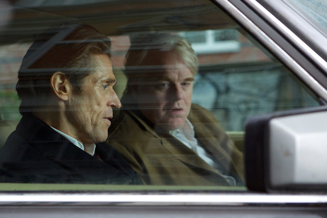 """""""A Most Wanted Man"""", Willem Dafoe, Philip Seymour Hoffman, 2014. (Photo by Kerry Brown/Roadside Attractions/Courtesy Everett Collection)"""