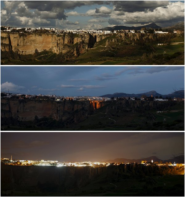 "A combination photo shows the ""Puente Nuevo"" (New Bridge) in the day (top), at night (C) and during Earth Hour in Ronda, near Malaga, southern Spain, March 19, 2016. (Photo by Jon Nazca/Reuters)"