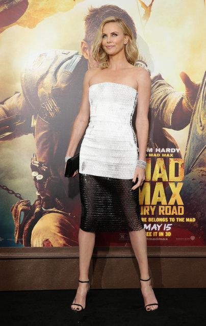 "Charlize Theron seen at the Warner Bros. premiere of ""Mad Max: Fury Road"" on Thursday, May 7, 2015, in Los Angeles. (Photo by Eric Charbonneau/Invision for Warner Bros./AP Images)"