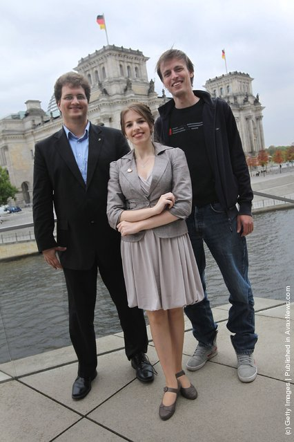 Piratenpartei (Pirate Party) Chairman Sebastian Nerz, Managing Director Marina Weisband and Berlin head Andreas Baum