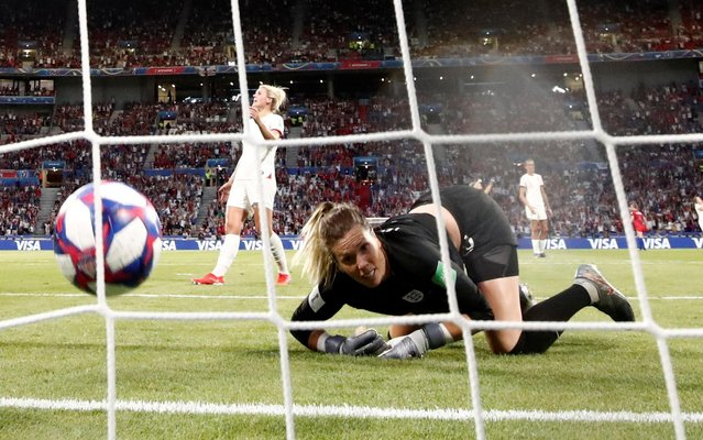 Carly Telford of England looks on after Alex Morgan of the USA scores her team's second goal during the 2019 FIFA Women's World Cup France Semi Final match between England and USA at Stade de Lyon on July 02, 2019 in Lyon, France. (Photo by Benoit Tessier/Reuters)