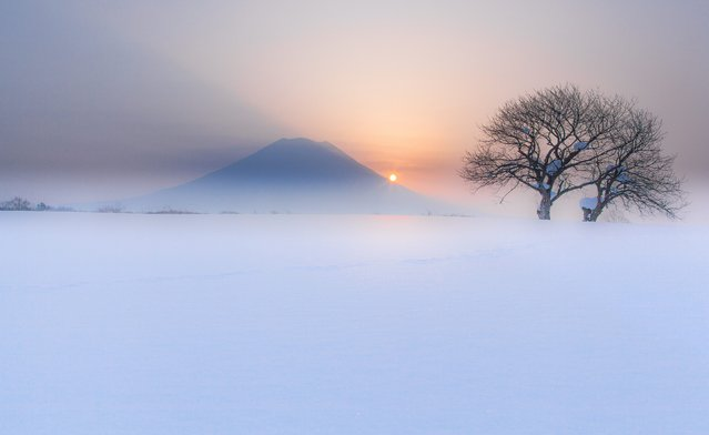 """""""Fogy Ezo Fuji"""". Niseko Town in Hokkaido. In Japan, much noted Mine where FUJI and a name are attached is located. The each is the strong emotional attachment of the Japanese of the land. Photo location: Niseko,Hokkaido, Japan. (Photo and caption by Mitsuhiko Kamada/National Geographic Photo Contest)"""