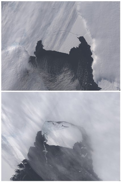 The B-31 Iceberg is seen before, (top) on October 28, 2013 and after separating on November 13, 2013, from a rift in Antarctica's Pine Island Glacier in this NASA Earth Observatory handout image. Scientists are monitoring an unusually large iceberg – roughly six times the size of Manhattan – that broke off from an Antarctic glacier and is heading into the open ocean, although not in an area heavily navigated by ships. (Photo by Holli Riebeek/Reuters/NASA Earth Observatory)