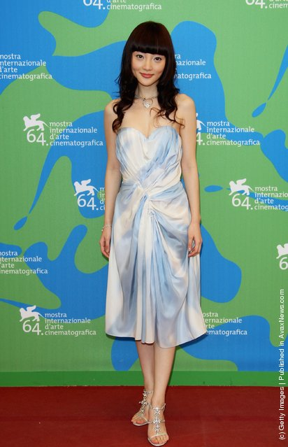 Lulu Li attends the Tiantang kou (Blood Brothers) photocall in Venice during day 11 of the 64th Venice Film Festival