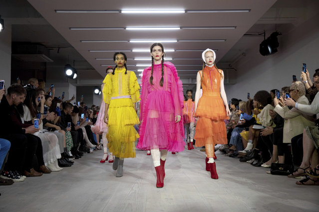 Models wear creations by Bora Aksu at the Spring/Summer 2020 fashion week runway show in London, Friday, September 13, 2019. (Photo by Grant Pollard/Invision/AP Photo)