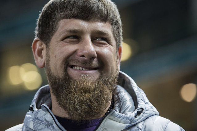 In this file photo dated Tuesday, Nov. 15, 2016, Chechen regional leader Ramzan Kadyrov smiles before an international friendly soccer match between Russia and Romania in Grozny, Russia. Kadyrov has lashed out at international organization that have criticised the Russian region for reportedly persecuting and killing gays, accusing them of attempting to blacken the Chechnyan society, lifestyle, traditions and customs, and saying on his social media account Sunday April 16, 2017, that rights have improved in Chechnya. (Photo by Denis Tyrin/AP Photo)