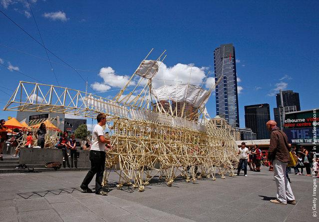 "The ""Strandbeest"" sculpture created by Dutch artist Theo Jansen ""walks"" at Federation Square"