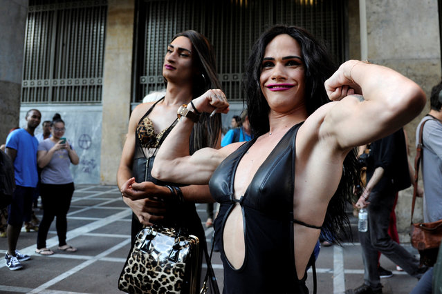 A participant poses for a photo during a gay pride parade in Athens, June 11, 2016. (Photo by Michalis Karagiannis/Reuters)