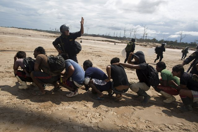 Police escort a group of miners detained during a police operation to destroy illegal gold mining camps in La Pampa, in the southern Amazon region of Madre de Dios, Peru August 11, 2015. (Photo by Sebastian Castaneda/Reuters)