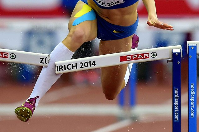 A close up shows Ukraine's Hanna Ryzhykova leg breaking a hurdle before crashing out as she competes in the women's 400m hurdles heats during the European Athletics Championships at the Letzigrund stadium in Zurich on August 13, 2014. (Photo by Olivier Morin/AFP Photo)