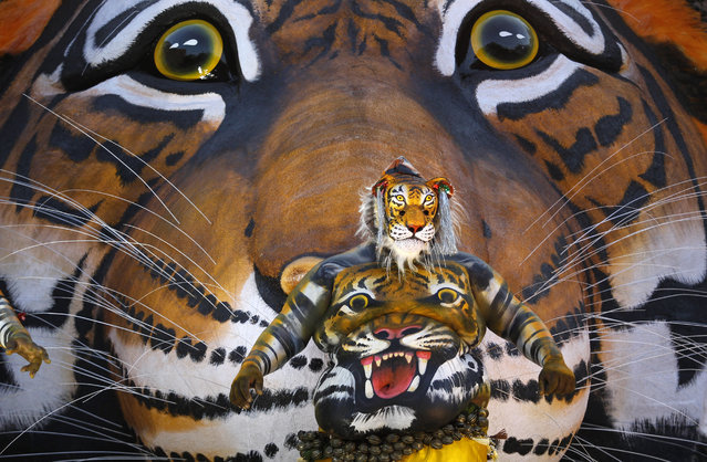 """An Indian artist with his body painted with the likeness of a tiger dances before a tableau with a picture of tiger during the """"Pulikali"""" or Tiger Dance procession in Thrissur, Kerala state, India, Monday, August 31, 2015. This folk art festival is held every year in this town to entertain people during the harvest festival """"Onam"""". (Photo by Arun Sankar K./AP Photo)"""
