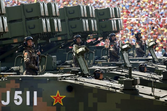 Anti-tank missiles are displayed during the military parade marking the 70th anniversary of the end of World War Two, in Beijing, China, September 3, 2015. (Photo by Damir Sagolj/Reuters)