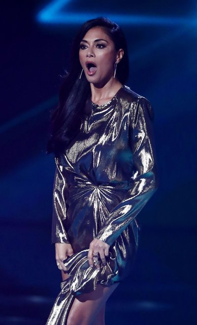 """Nicole Scherzinger at """"The X Factor"""" TV show, Series 14, Episode 17, UK on October 28, 2017. (Photo by Dymond/Thames/Syco/Rex Features/Shutterstock)"""