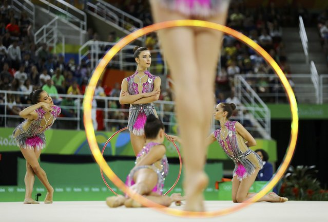 2016 Rio Olympics, Rhythmic Gymnastics, Final, Group All-Around Final, Rotation 2, Rio Olympic Arena, Rio de Janeiro, Brazil on August 21, 2016. Team Italy (ITA) compete using clubs and hoops. (Photo by Mike Blake/Reuters)