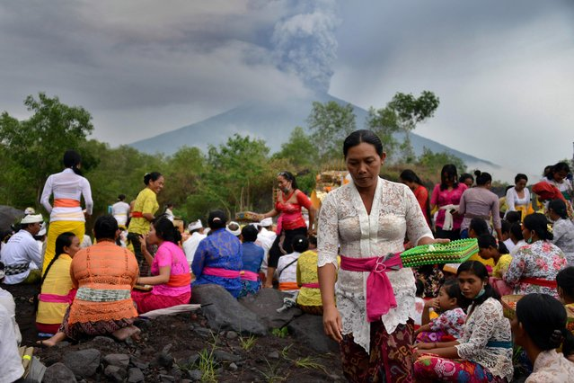 Balinese Hindus take part in a ceremony, where they pray near Mount Agung in hope of preventing a volcanic eruption, in Muntig village of the Kubu sub- district in Karangasem Regency on Indonesia' s resort island of Bali on November 26, 2017. A volcano on the Indonesian tourist island of Bali sent plumes of grey smoke and steam thousands of metres into the air on November 26 for the third day in a week, triggering flight cancellations which have left thousands of tourists stranded, officials said Sunday. (Photo by Sonny Tumbelaka/AFP Photo)