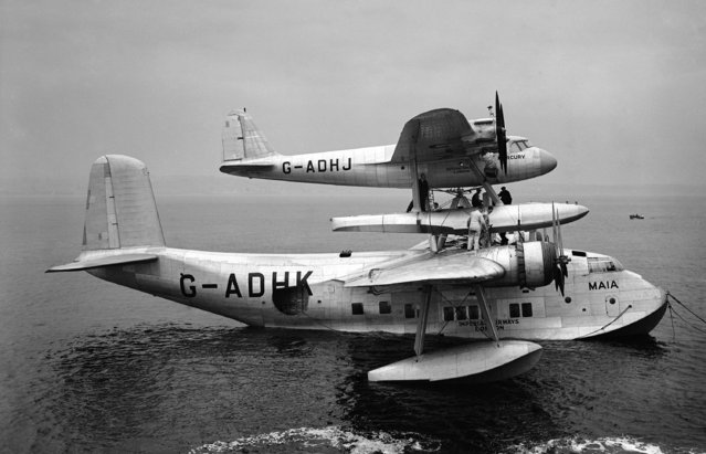 Mercury and Maia, fuelled and overhauled, are waiting in the Tay at Dundee, for favorable weather to start the flight to the Cape, a distance of 6370 miles. The composite machine moored in the Tay River, at Dundee, on September 23, 1938. (Photo by AP Photo)