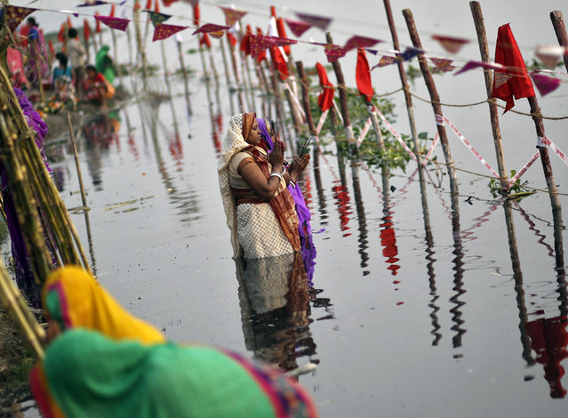 Women worship the Sun god Surya in the waters of the river Yamuna during the Hindu religious festival of Chatt Puja in New Delhi October 29, 2014. (Photo by Anindito Mukherjee/Reuters)