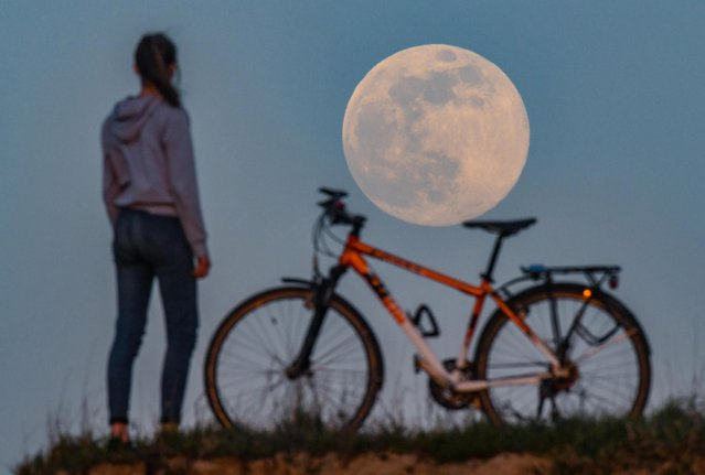 The moon rises as a so-called super moon, while on a hill a girl stands next to her bicycle and admires the spectacle in Brandenburg, Sieversdorf, Germany on April 7, 2020. The moon reaches its perigee, i.e. the point closest to the Earth's orbit, on the night of 7-8 April as a full moon and therefore appears particularly large to the human observer. (Photo by Patrick Pleul/dpa-Zentralbild/dpa via ZUMA Press)