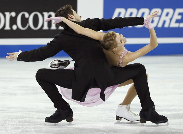 Alexandra Nazarova and Maxim Nikitin of Ukraine perform during the ice dance short program at the Skate America figure skating competition in Milwaukee, Wisconsin October 23, 2015. (Photo by Lucy Nicholson/Reuters)