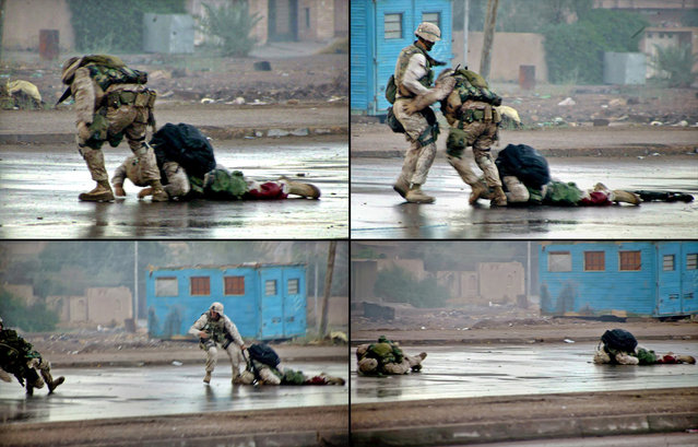 Combination handout pictures released on December 17, 2004, (upper left) U.S. Marine Platoon Gunnery Sergeant Ryan P. Shane, from the 1st Battalion of the 8th Marine Regiment pulls a fatally wounded comrade to safety while under fire during a military operation in Fallujah. (upper right) Shane and another member of 1/8 pulled their fatally wounded comrade under fire. (lower left) Shane (left) is hit by insurgent fire and (lower right) lies wounded. (Photo by Cpl. Joel A. Chaverri/Reuters/USMC/The Atlantic)