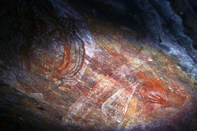Australian Aboriginal rock art can be seen in a cave near the township of Jabiru located near Arnhem Land November 26, 2014. (Photo by David Gray/Reuters)