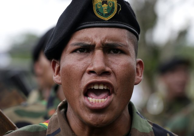A solider, tasked to eradicate coca leaves in the fight against drugs, attends the end of their ceremony of the task in Chimore, east of La Paz, December 10, 2014. (Photo by David Mercado/Reuters)
