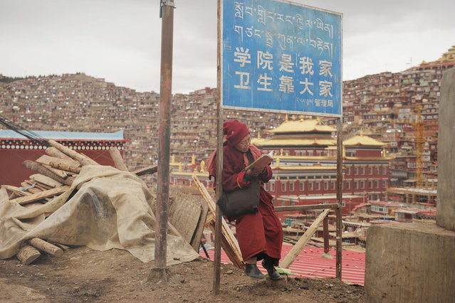 "This photo taken on April 4, 2013 shows a Buddhist nun sitting reading under a sign that reads ""the campus is our home, maintaining hygiene is everyone's responisbility"", in Seda Monastery, the largest Tibetan Buddhist school in the world, with up to 40,000 monks and nuns in residence for some parts of the year. (Photo by Peter Parks/AFP Photo)"