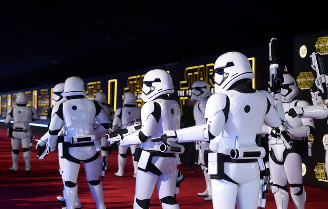 "Storm Troopers march in at the world premiere of the film ""Star Wars: The Force Awakens"" in Hollywood, California, December 14, 2015. (Photo by Kevork Djansezian/Reuters)"