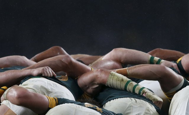 South Africa players compete in a scrum with New Zealand players during their Rugby World Cup Semi-Final match at Twickenham in London, Britain, October 24, 2015. (Photo by Russell Cheyne/Reuters)