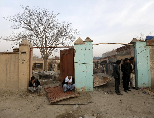 """Damaged doors of homes are seen after a suicide attack on French restaurant  """"Le Jardin"""" in Kabul, Afghanistan January 2, 2016. (Photo by Mohammad Ismail/Reuters)"""