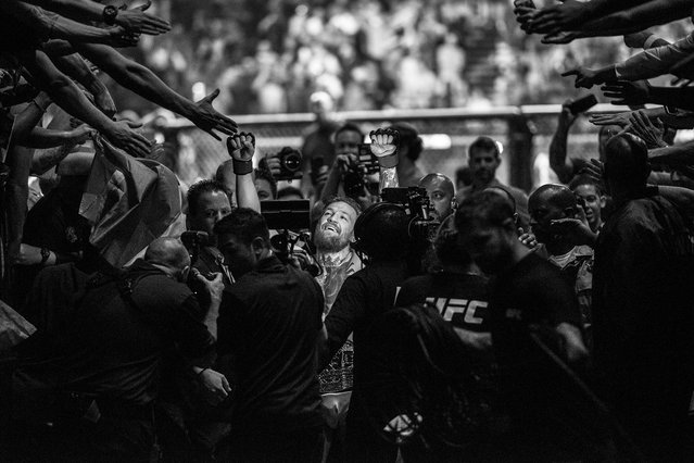 Special Merit Award. The Notorious (2017). Conor McGregor acknowledges the crowd after a UFC fight in 2017. (Photo by John Barry/World Sports Photography Awards 2021)
