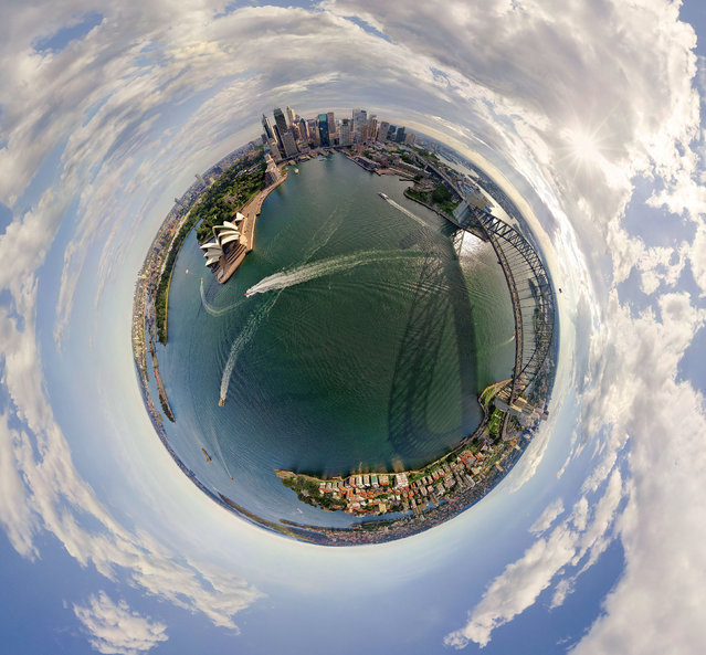 Sydney and the Sydney Opera House, Australia. (Photo by Airpano/Caters News)