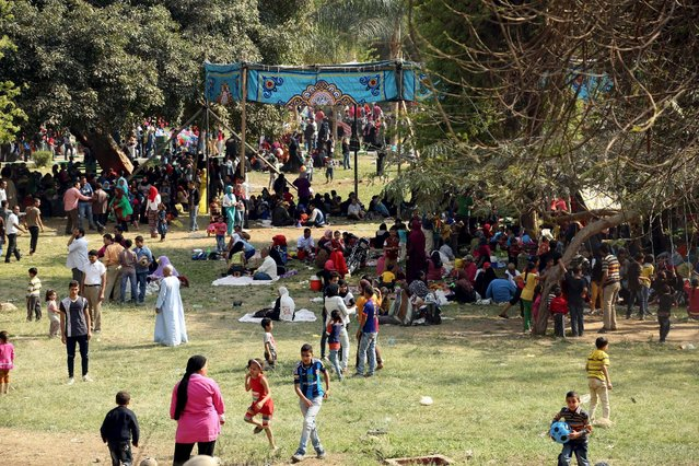 Egyptians celebrate the spring holiday of Sham el Nessim in a public park on the outskirts of Cairo, April 13, 2015. (Photo by Asmaa Waguih/Reuters)