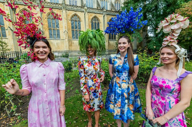 """Royal couturier Catherine Walker & Co and florist Amanda Austin stage a """"floral couture"""" display along the Kings Road (starting outside St Luke's and Christ Church) to celebrate the RHS Chelsea Flower Show and Chelsea in Bloom 2021 in London, United Kingdom on September 23, 2021. (Photo by Guy Bell/Rex Features/Shutterstock)"""