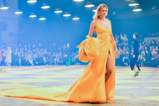 Model and entrepreneur Karlie Kloss and Gigi Hadid walk the runway during the Off-White Ready to Wear fashion show as part of the Paris Fashion Week Womenswear Fall/Winter 2019/2020 on February 28, 2019 in Paris, France. (Photo by Swan Gallet/WWD/Rex Features/Shutterstock)