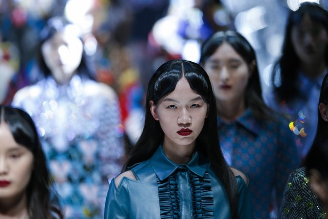 Models  showcases designs on the runway at Mary Katrantzou Collection show during the Mercedes-Benz China Fashion Week Autumn/Winter 2016/2017 at 751D.PARK on March 27, 2016 in Beijing, China. (Photo by Lintao Zhang/Getty Images)