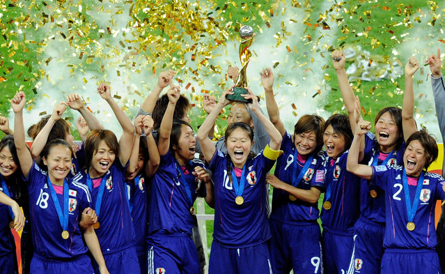 Players of Japan celebrates after winning the FIFA Womens's World Cup Final between the United States of America and Japan at FIFA Word Cup stadium on July 17, 2011 in Frankfurt am Main, Germany. (Photo by Thorsten Wagner/Getty Images)