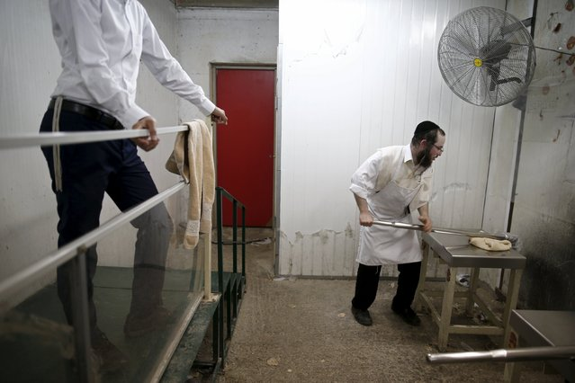 An ultra-Orthodox Jewish man kneads dough as he prepares matza, traditional unleavened bread eaten during the upcoming Jewish holiday of Passover, in the southern city of Ashdod April 17, 2016. (Photo by Amir Cohen/Reuters)