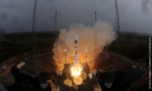 Soyuz VS01 rocket is lifts off at the European Spaceport in Kourou, French Guiana